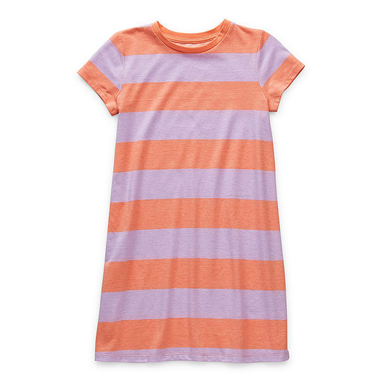 Arizona Little & Big Girls Short Sleeve Striped T-Shirt Dress