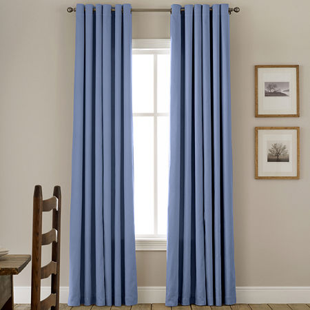 JCPenney Home Energy Saving Grommet-Top Single Curtain Panel, One Size , Blue