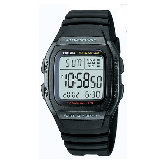 Casio® Mens Black Square Digital Watch W96H-1BVOS