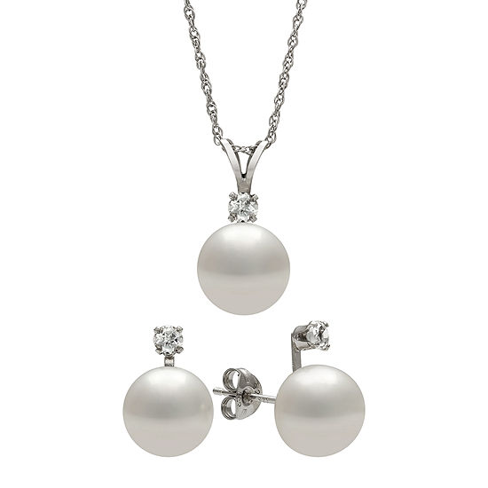 Cultured Freshwater Pearl and Genuine White Topaz Boxed Pendant and Earring Set