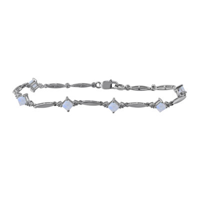 Lab-Created Opal and Diamond-Accent Sterling Silver Bracelet