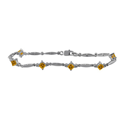 Womens Yellow Citrine Tennis Bracelet