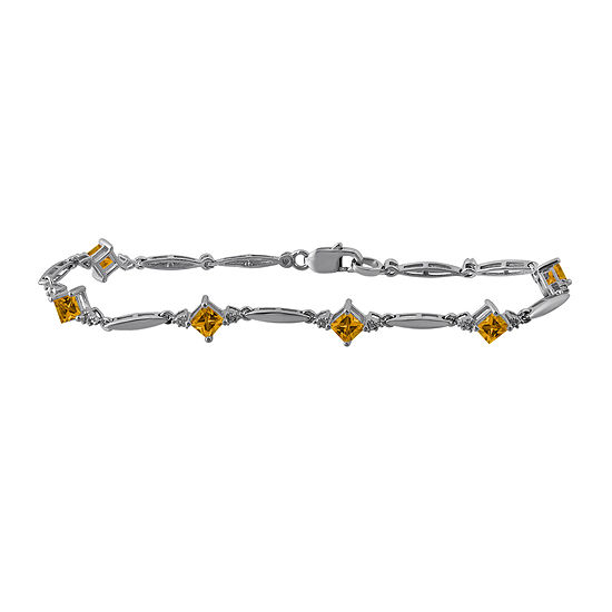 Genuine Citrine and Diamond-Accent Sterling Silver Bracelet