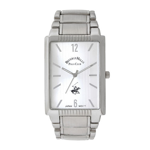 Beverly Hills Polo Club Mens Silver-Tone Metal Link Tank Watch