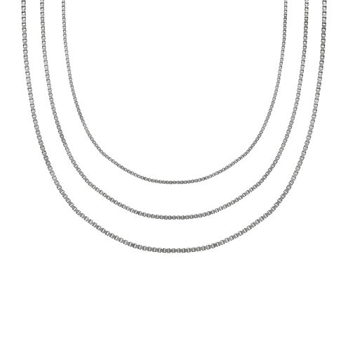"Sterling Silver 18"" Box, Rope and Square Snake Chains"