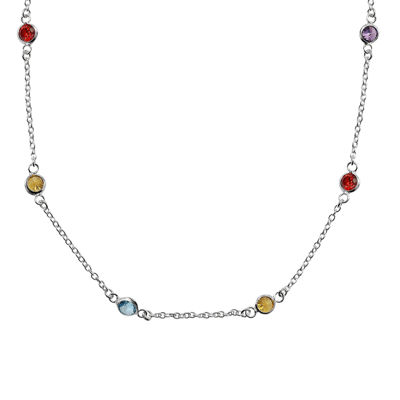 "Silver Reflections™ Cubic Zirconia 18"" Bezel Chain Necklace"