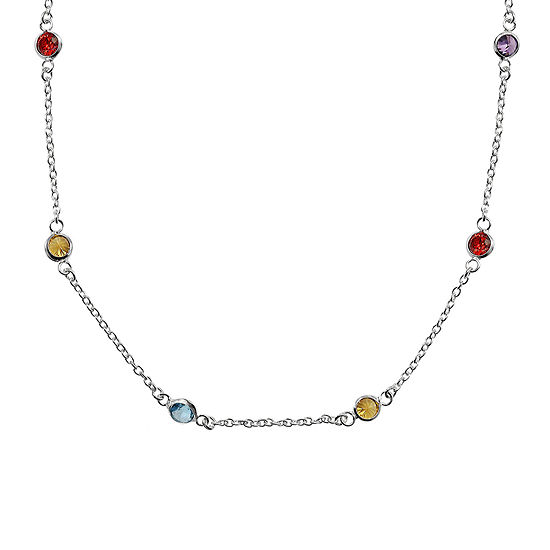 """Silver Reflections™ Cubic Zirconia 20"""" Bezel Chain Necklace"""