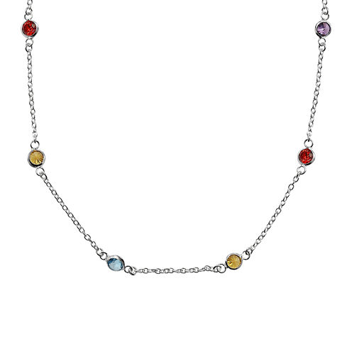 "Silver Reflections™ Cubic Zirconia 24"" Bezel Chain Necklace"