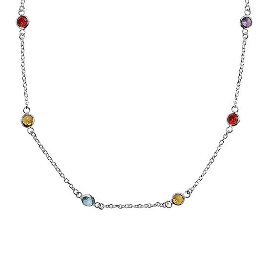 Silver Reflections Cubic Zirconia 24 Bezel Chain Necklace