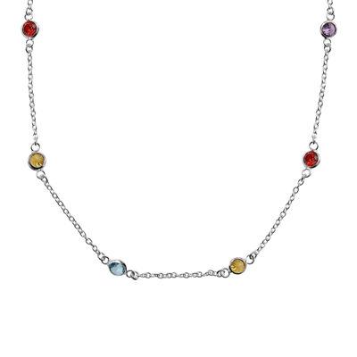 "Silver Reflections™ Cubic Zirconia 30"" Bezel Chain Necklace"