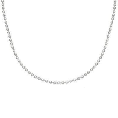 Silver Reflections™ Stainless Steel Diamond Cut Beaded Chain Necklace