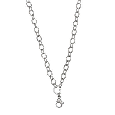 Silver Reflections™ Stainless Steel Heart-Link Necklace