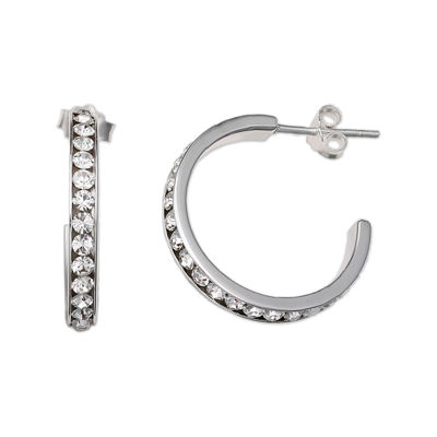 Clear Crystal Sterling Silver C Hoop Earrings