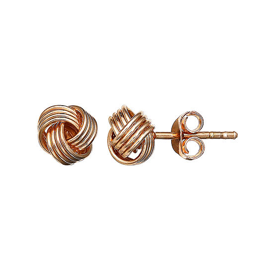 Rose Gold Over Silver Love Knot Stud Earrings