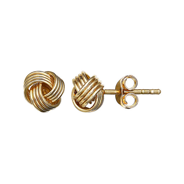 Gold Over Sterling Silver Love Knot Stud Earrings