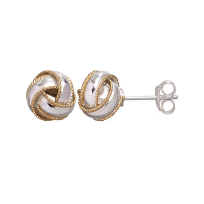 Two-Tone Sterling Silver Knot Earrings