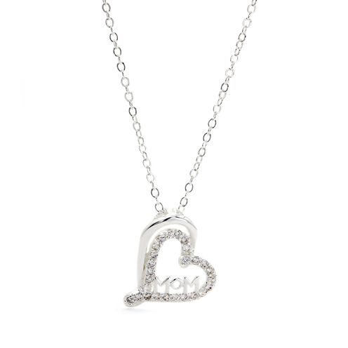 City By City Cubic Zirconia Mom In Heart Pendant Necklace