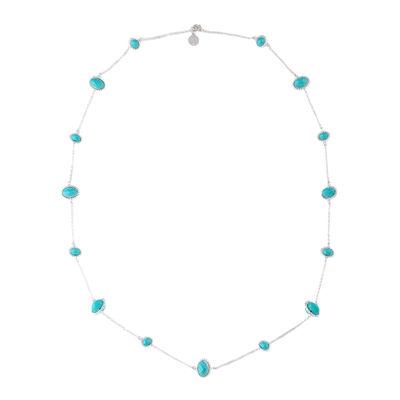 Liz Claiborne® Silver-Tone Blue Stone Long Strand Necklace