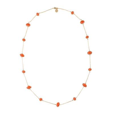 Liz Claiborne® Gold-Tone Orange Stone Long Strand Necklace