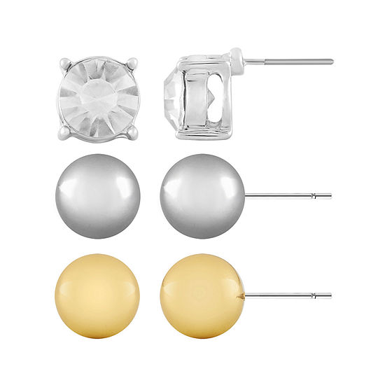 Monet® 3-pr. Crystal, Silver-Tone and Gold-Tone Stud Earring Set
