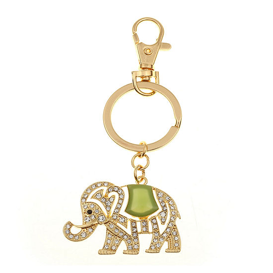 Monet® Gold-Tone & Green Stone Elephant Key Fob
