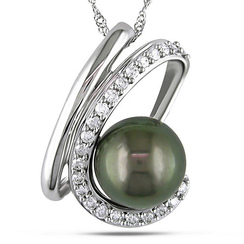 1/4 CT. T.W. Diamond and Black Cultured Tahitian Pearl Pendant