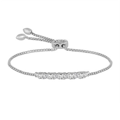Rhythm and Muse Lab-Created White Sapphire Sterling Silver Bolo Bracelet