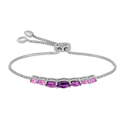 Rhythm and Muse Genuine Amethyst Sterling Silver Bolo Bracelet