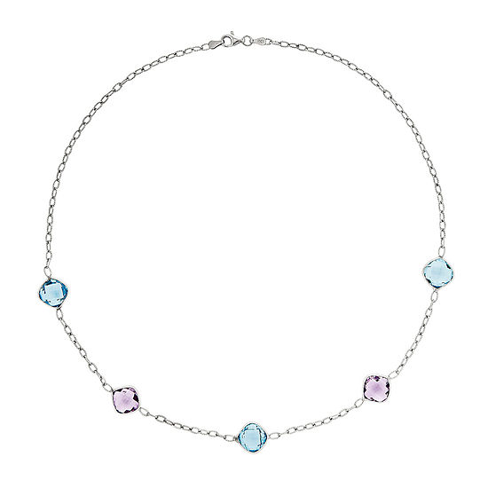 Genuine Amethyst & Blue Topaz Sterling Silver Necklace