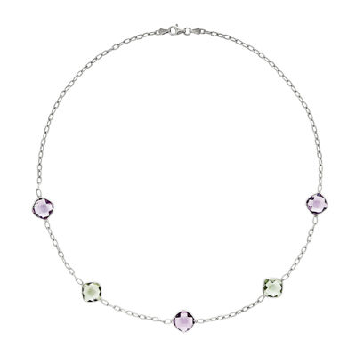 Genuine Amethyst & Green Quartz Sterling Silver Necklace