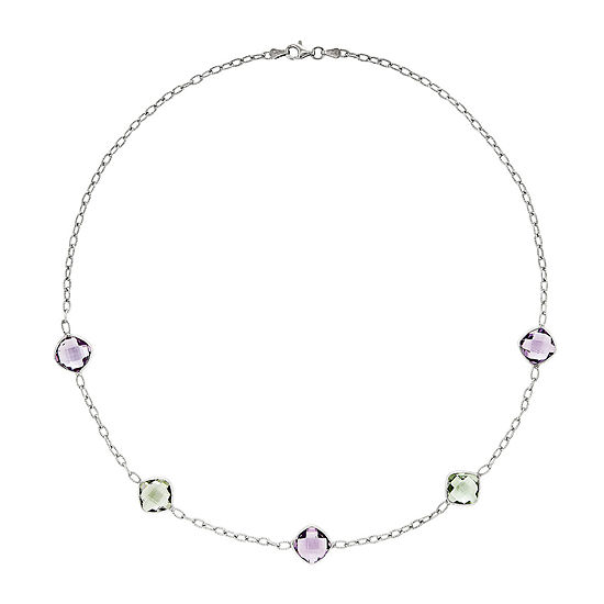 Genuine Amethyst & Green Quartz Sterling Silver Necklace