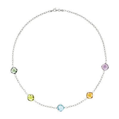 Genuine Multi Gemstone Sterling Silver Necklace