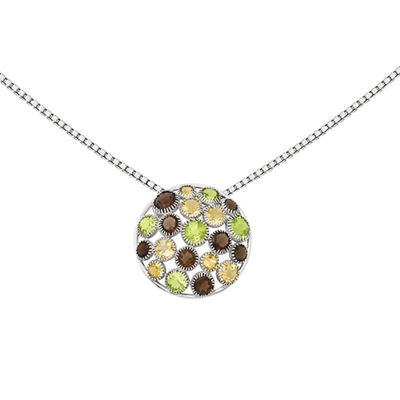 Smoky Quartz, Genuine Peridot and Citrine Sterling Silver Pendant Necklace