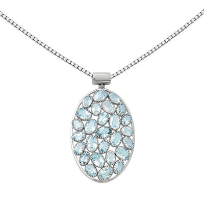 Simulated Blue Topaz Sterling Silver Pendant Necklace