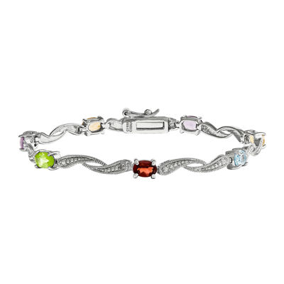 Genuine Multi Gemstone and Diamond Accent Sterling Silver Bracelet