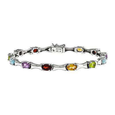 Genuine Multi Gemstone Sterling Silver Bracelet