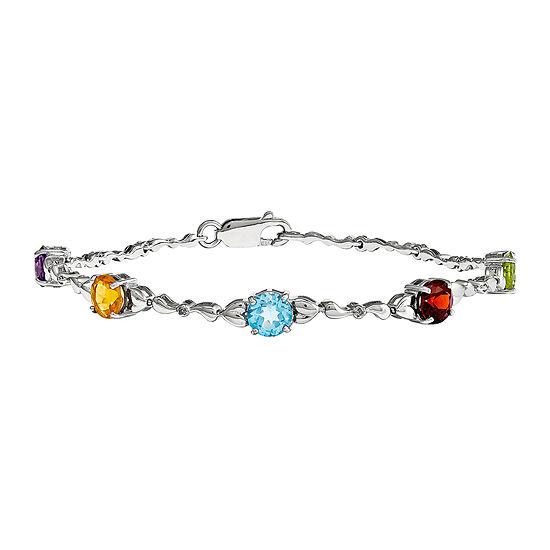 Multi Gemstone & Diamond Accent Sterling Silver Bracelet