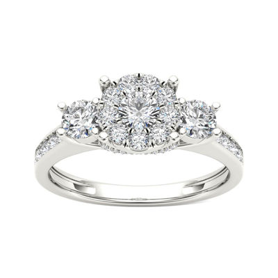 3/8 CT. T.W. Diamond Cluster Swirl Engagement Ring
