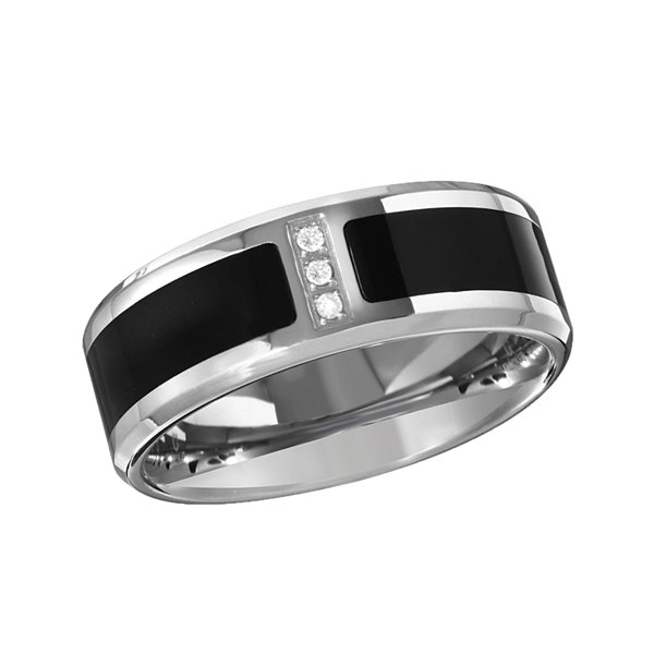 Mens Diamond Accent Black IP Stainless Steel Wedding Band