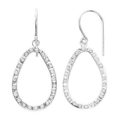 Genuine White Diamond 14K Gold Drop Earrings