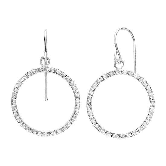 Diamond Fascination™ 14K White Gold Open Teardrop Earrings