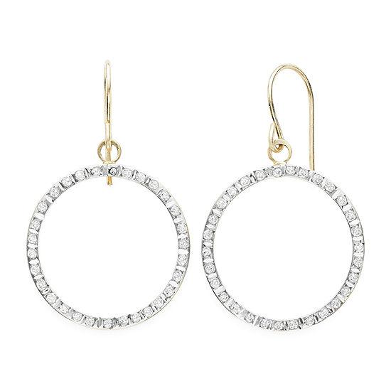 Genuine White Diamond 14K Gold Drop Earrings