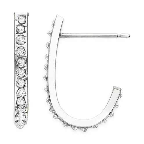 Diamond Fascination™ 14K Gold J-Hoop Earrings