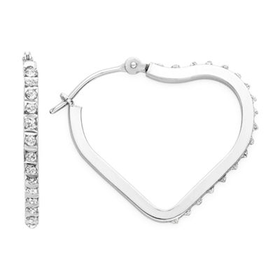 Diamond Fascination™ 14K Gold Diamond Accent Heart Hoop Earrings