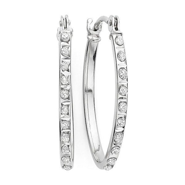 1193e3f98268a Diamond Fascination™ 14K Gold Diamond Accent Oval Hoop Earrings