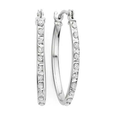 Diamond Fascination™ 14K Gold Diamond Accent Oval Hoop Earrings