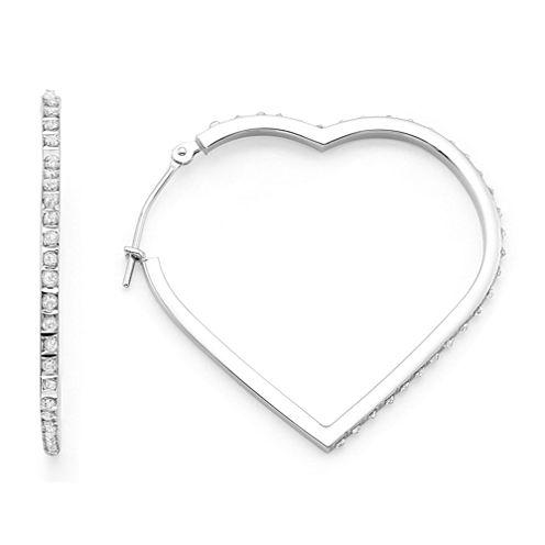 Diamond Fascination™ 14K Gold Heart Hoop Earrings
