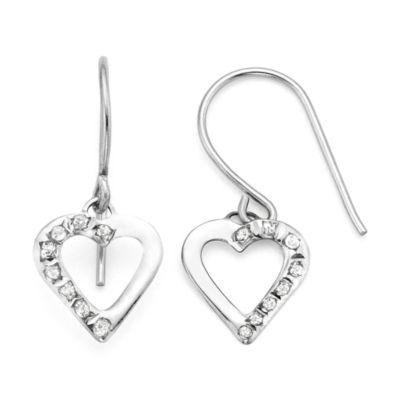 Diamond Fascination™ 14K White Gold Heart Drop Earrings