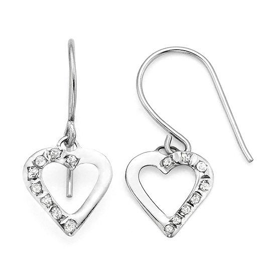 Diamond Fascination 14k White Gold Heart Drop Earrings
