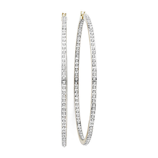 Diamond Fascination 14k Yellow Gold In And Out Hoop Earrings